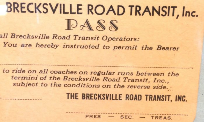Old Ticket, BRT Charter Service, Ohio bus rental